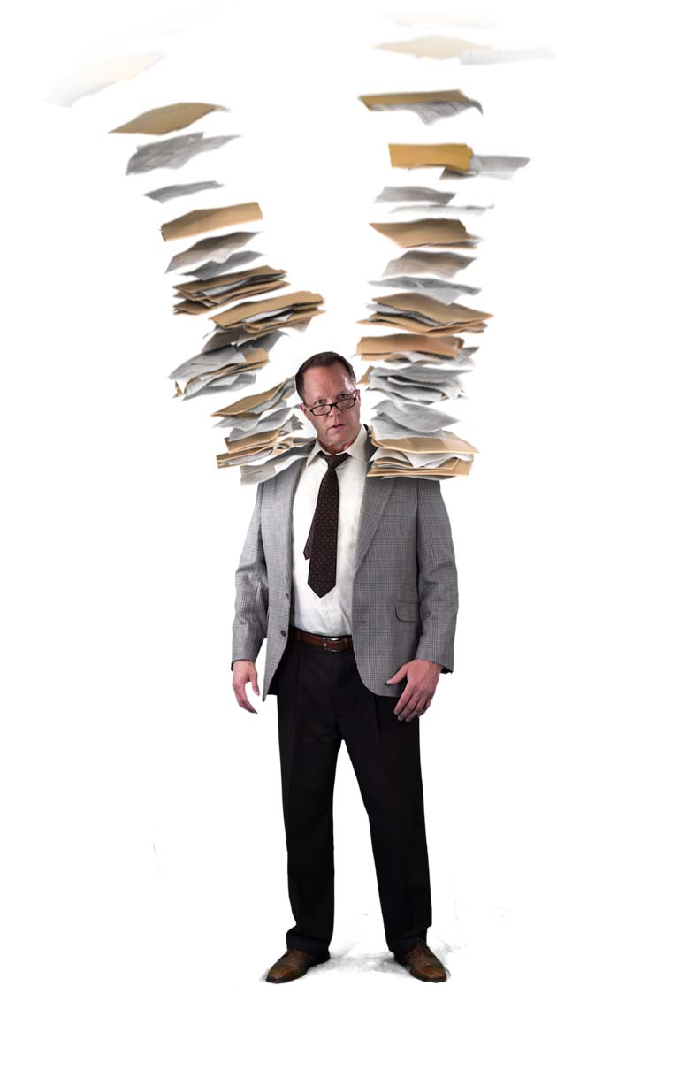 man carrying papers