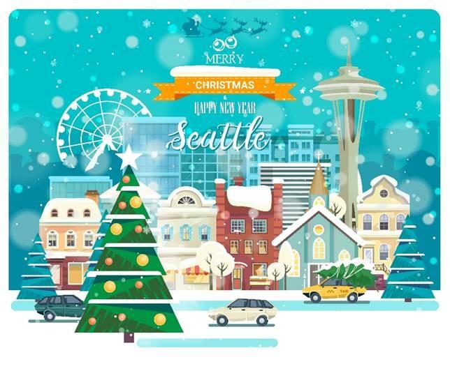 A holiday card of Seattle Washington animation