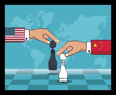 USA and China playing chess