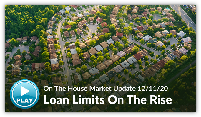 A picture of multiple houses with the words loan limits on the rise and a play button