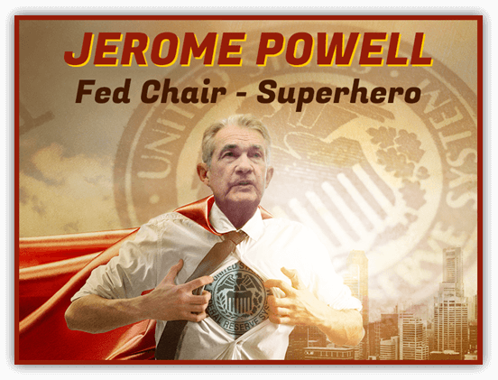 Jerome Powell acting as a super hero
